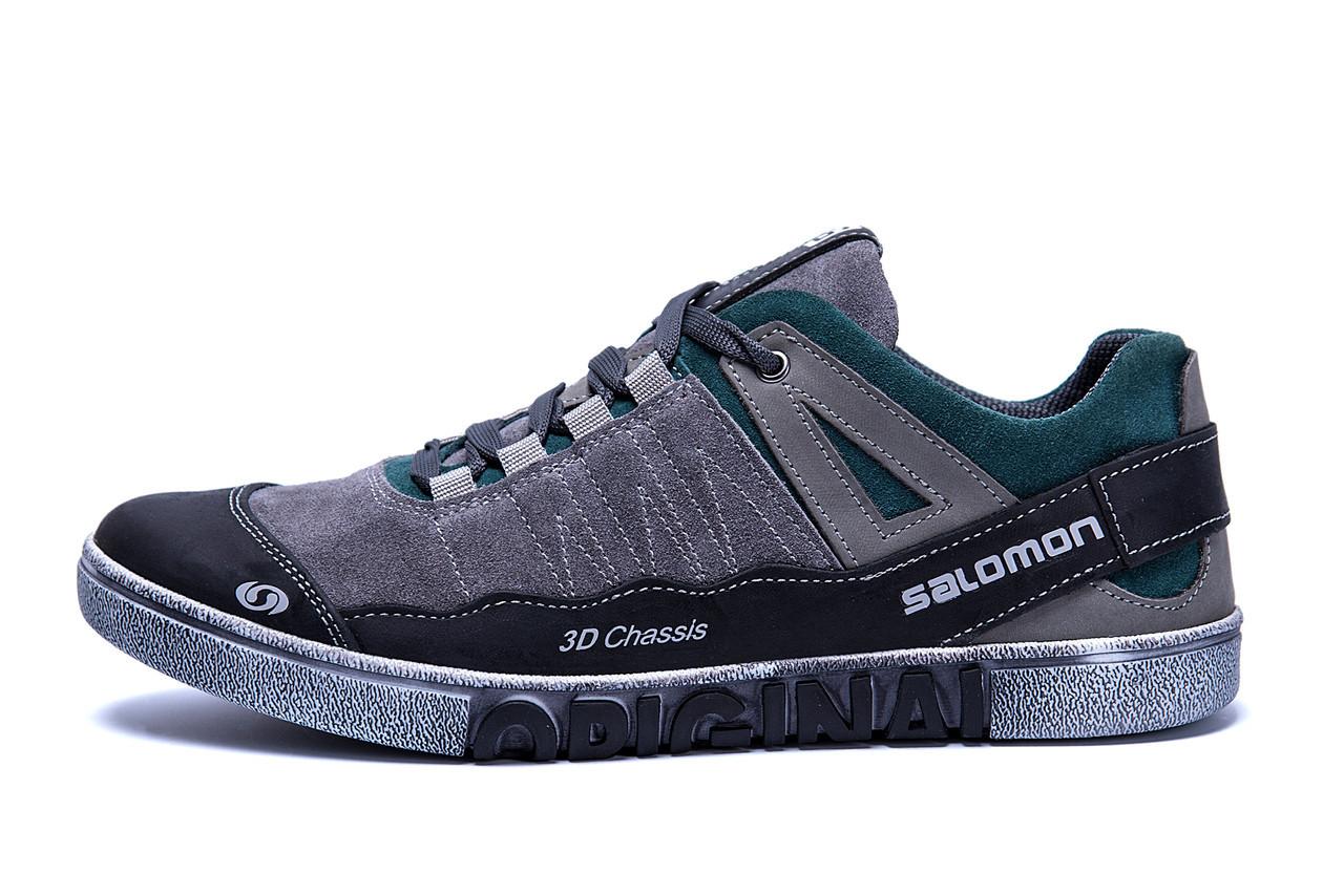 Чоловічі шкіряні кросівки Salomon Grey and Green Trend