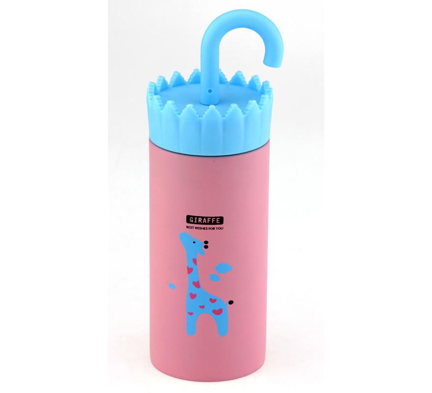 Термос питьевой розовый Жираф