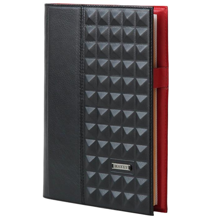 """Ежедневник А5 в кожаной обложке """"Геометрия"""". Цвет черно-красный."""