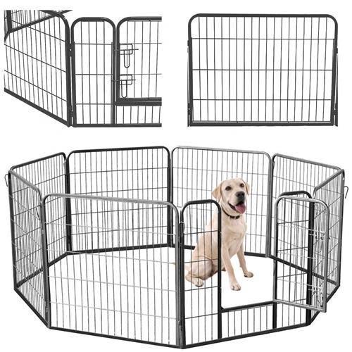 Огорожа для собак металева 80*80 см 8 секцій, вольер, клетка, манеж MALATEC