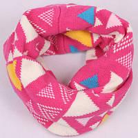 Шарф-снуд детский розовый теплый с геометрическим узором, опт