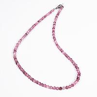 Бусы шнурок из розового турмалина рубеллит, Ø3 мм., 727БСТ, фото 1