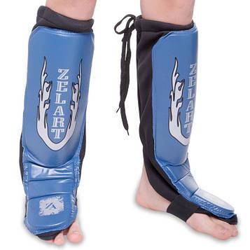 Захист гомілки й стопи Муай Тай, ММА, Кікбоксинг шкіряна панчоха (в наявності р-р L, синій)