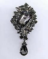 Брошь 5*9,5см Диор ажур с подвеской Черные бриллианты, фото 1