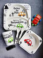 Набор детской посуды из бамбука Bamboo Fibre kids set Машинки 5 в 1