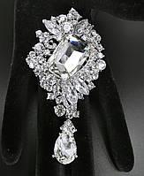 Брошь 5*9,5см Диор ажур с подвеской кристалл, фото 1