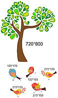 Комплект наліпок - Пташки та дерево