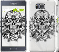 """Чехол на Samsung Galaxy Alpha G850F Череп и розы """"1208c-65"""""""