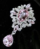 Брошь декор 3,8*6,5см Престиж розовая кристалл (без застежки), фото 1
