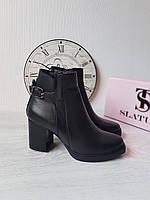 Женские кожаные ботинки на низком каблуке