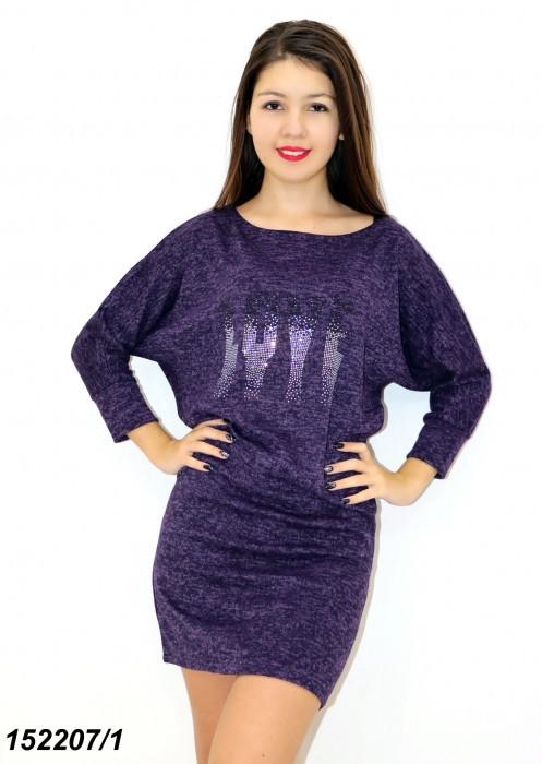 Платье фиолетовое из ангоры, рукав летучая мышь