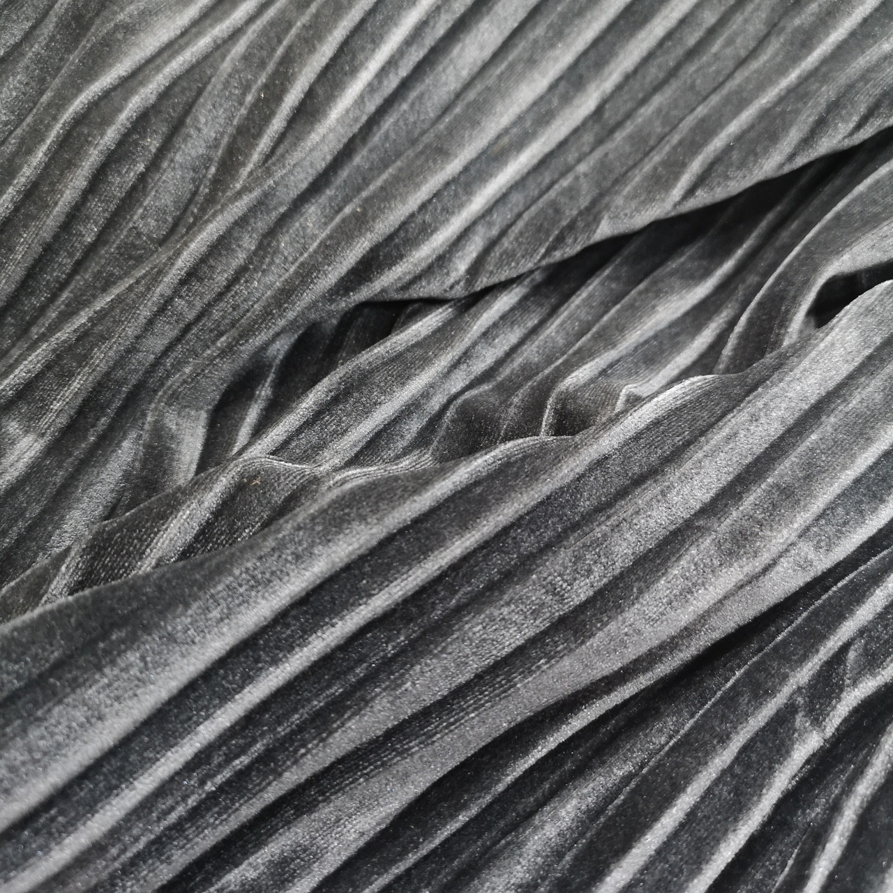 Ткань бархат стрейч плиссированный серый