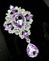Брошь декор 3,8*6,5см Престиж фиолетовая кристалл (без застежки), фото 1