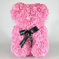 Мишка из роз Bear Flowers 27 см Pink (hub_ayKU90620)