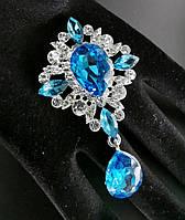 Брошь декор 3,8*6,5см Престиж голубая кристалл (без застежки), фото 1