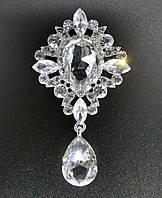 Брошь декор 3,8*6,5см Престиж прозрачная кристалл (без застежки), фото 1
