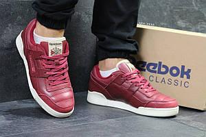 Мужские кроссовки Reebok Homme Classic,кожаные,бордовые