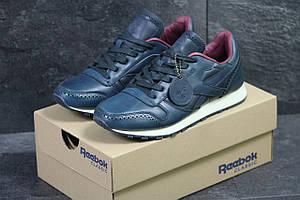 Мужские кроссовки Reebok кожаные,синие с красным