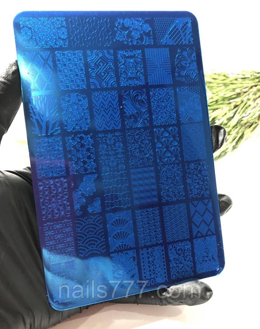 Трафарет, пластина для стемпинга металлическая большая