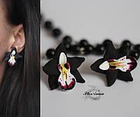 """Серьги гвоздики с цветами """"Черные орхидеи"""""""