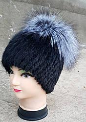 Женская меховая шапка Klaus Ондатра Бубон Чернобурка One size Чёрный(18/68)