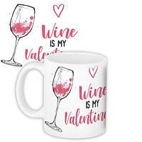 Кружка с принтом Wine is my Valentine 330 мл (KR_20L072)