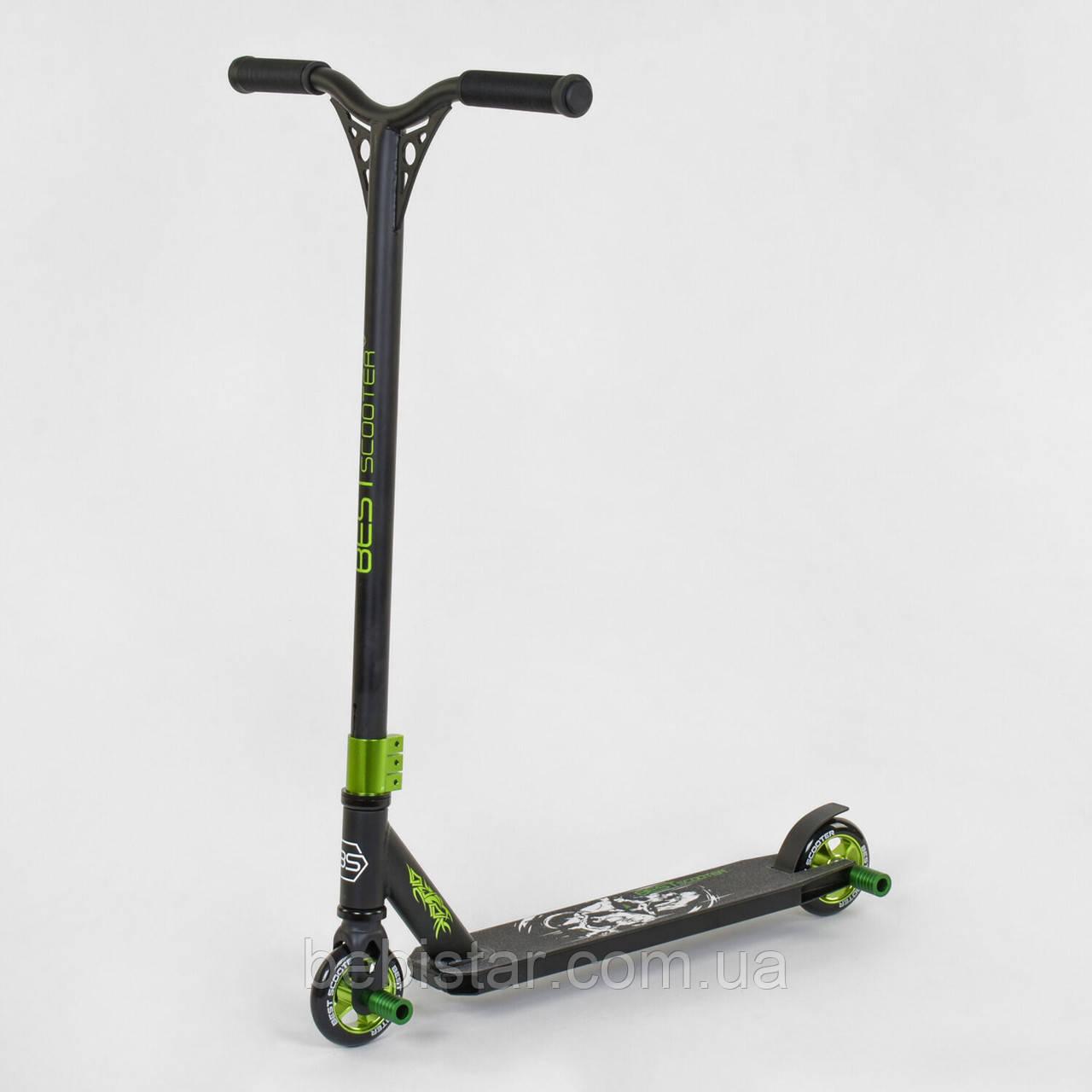 Самокат трюковый черный Best Scooter, алюминиевый зеленый диск, полиуретановые колеса, нагрузка 100 кг