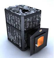 Печь-каменка «Пруток» на 12 м.куб, двери со стеклом, дровяная банная печь. Наша доставка.
