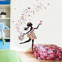 """3D интерьерные виниловые наклейки на стены """"Цветочная Фея с Бабочками"""" 90-60 см в детскую. Декор"""