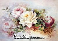 Вафельная картинка Розы-винтаж