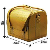 Чемодан кейс текстурный змеиный принт, маникюрная сумка для мастера, кож.зам, цвета золото и серебро