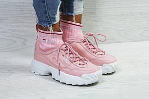 Женские кроссовки Fila,розовые,с носком