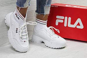 Женские кроссовки Fila,белые,с носком