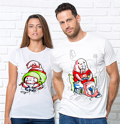 Парні футболки, Геймери Парні футболки з принтом Геймери