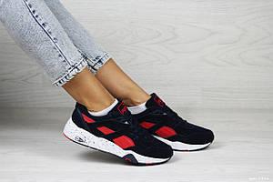 Женские кроссовки Puma Trinomic,замшевые,темно синие с красным