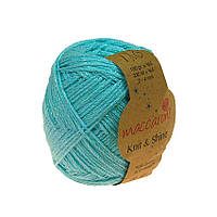 Хлопковый шнур Maccaroni Knit&Shine Цвет Светлая бирюза