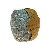 Хлопковый шнур Maccaroni Knit&Shine Цвет Серебро