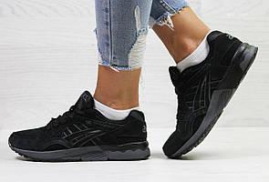 Женские,подростковые кроссовки Asics,замшевые,черные