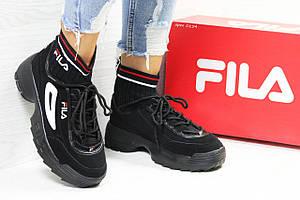 Женские кроссовки Fila,черно-белые,с носком