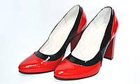 Женские кожаные туфли-лодочки на высоком каблуке, фото 1