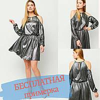 Платье полусолнце черное мини свободного кроя на бретелях