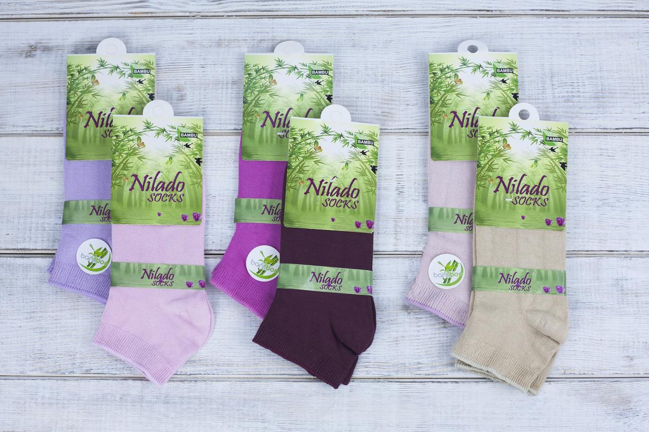 Жіночі носки антибактеріальні Nilado шкарпетки стрейчеві бамбук однотонні 35-39 12 шт в уп мікс 6 кольорів