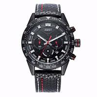 Часы наручные AMST AM3021-1 Black-Black, кожаный ремешок (оригинал)