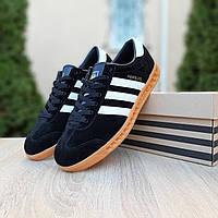 Мужские кроссовки в стиле Adidas Hamburg, замша, полиуретан, черные 41 (26 см)