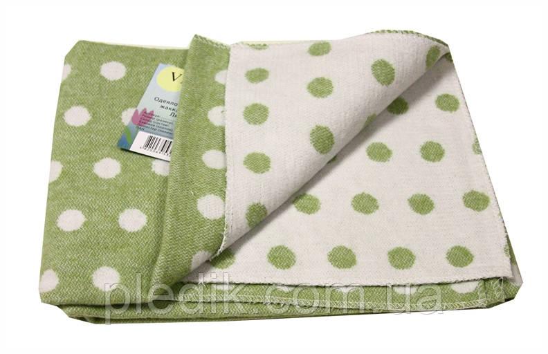 Детское хлопковое одеяло-плед 100х140 Vladi Горох салатовый