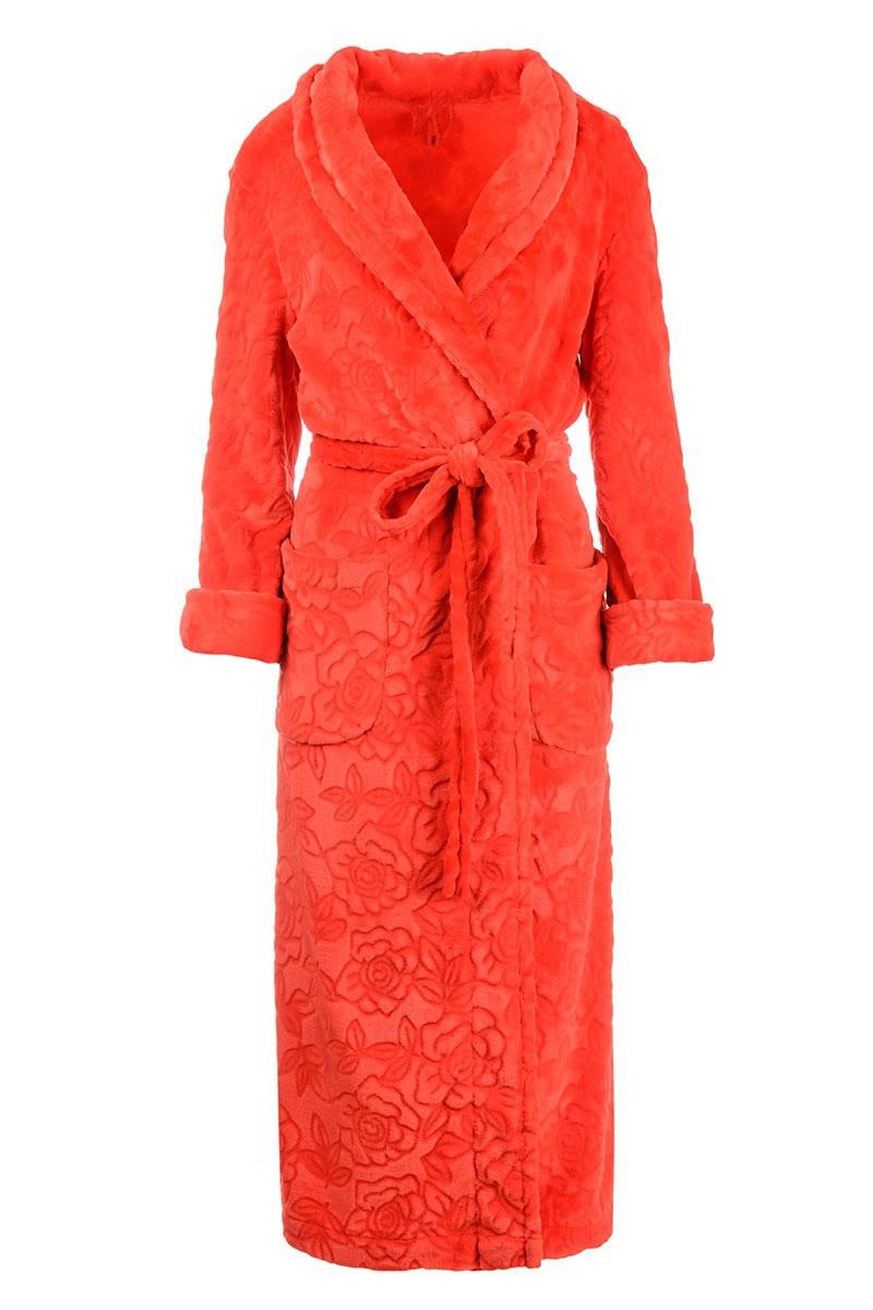 Халат длинный махровый шаль принт цветы Красный Большого размера