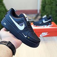 Женские кроссовки в стиле Nike Air Force 1 Mid LV8, кожа, черные с белым 36 (23 см)