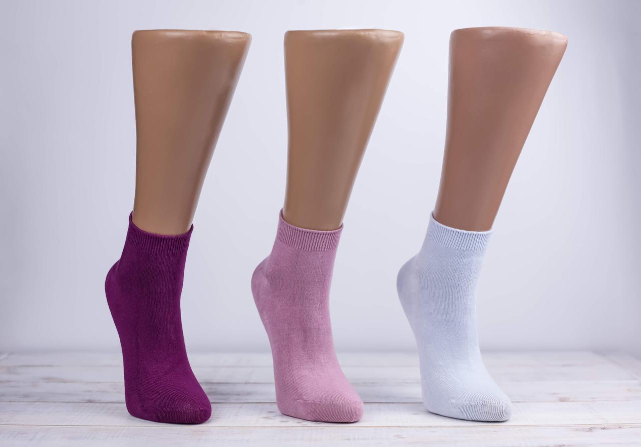 Жіночі антибактеріальні носки шкарпетки стрейчеві Z&N  бамбук патік однотонні 35-39 12 шт в уп мікс 6 кольорів