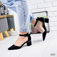 Женские открытые замшевые туфли лодочки на толстом удобном каблуке с ремешком черные, фото 1