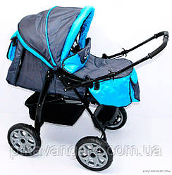 Коляска-трансформер для детей тёмно-серый с голубым Viki / 86- C 13